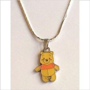 "Silver Winnie The Pooh Necklace Disney 18"" Pendant"